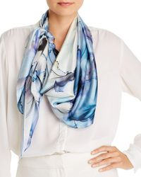 Echo Natural Swirl Silk Square Scarf - Blue