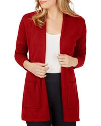 Foxcroft Bethanie Open Front Cardigan - Red