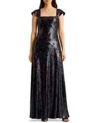 Ralph Lauren Lauren Metallic Sequined Gown - Blue