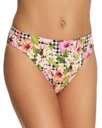 Bleu Rod Beattie Checking In Ruched Back Low - Rise Bikini Bottom - Pink
