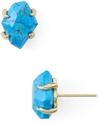 Kendra Scott Inaiyah Gold Stud Earrings In Aqua Howlite