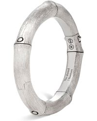 John Hardy - Brushed Sterling Silver Bamboo Hinged Bangle - Lyst
