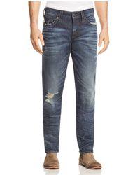 True Religion - Geno Straight Fit Jeans In Worn Combat Blue - Lyst