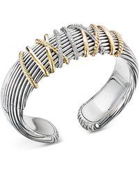 David Yurman Helena Diamond, 18k Yellow Gold & Sterling Silver Cuff Bracelet - Metallic