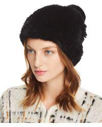 Maximilian Knit Rex Rabbit Fur Hat - Black