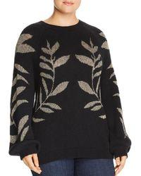 Lucky Brand Metallic Leaf Pullover Sweater - Black
