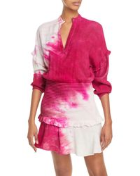 Aqua Tie Dyed Smocked Mini Dress - Pink