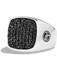 David Yurman Pavé Signet Ring With Black Diamonds - Metallic