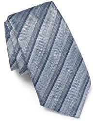 John Varvatos - Stripe Linen Blend Tie - Lyst