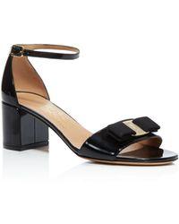 905e33b8bc59 Ferragamo - Gavina Ankle Strap Block Heel Bow Sandals - Lyst