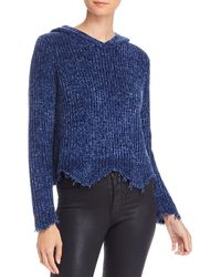 Aqua Distressed Hooded Sweater - Blue
