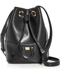 Ferragamo - Gancini City Leather Bucket Bag - Lyst