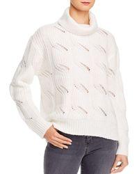 Aqua Cable - Knit Turtleneck Sweater - White