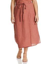 Eileen Fisher Faux Wrap Organic Linen Midi Skirt - Multicolour