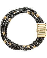 Lagos Gold & Black Caviar Collection 18k Gold & Ceramic Beaded Multistrand Bracelet - Metallic