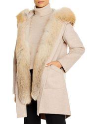 Maximilian Fox Fur Tuxedo Trim Wool Coat - Natural