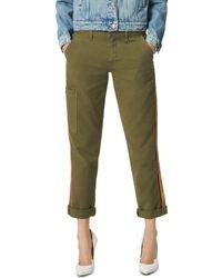 Joe's Jeans The Trouser Velvet Stripe Ankle Pants In Dark Olive - Green
