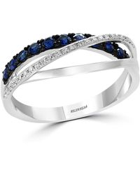 Bloomingdale's Blue Sapphire & Diamond Crossover Ring In 14k White Gold - Multicolor