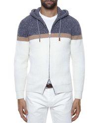 Eleventy Colorblock Full Zip Hoodie - White