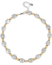 Robert Lee Morris Two - Tone Geometric Round Wire Collar Necklace - Metallic