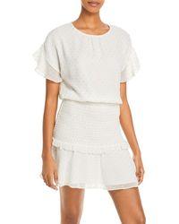 Aqua Clip Dot Ruffled Mini Dress - White