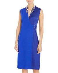 Misook Mixed Media Wrap Dress - Blue