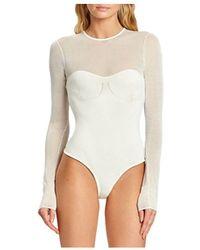 Hervé Léger X Julia Restoin Roitfeld Mesh Panel Long Sleeve Bodysuit - White