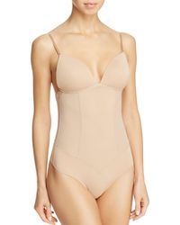 Fine Lines Refined Convertible Low Back Backless Thong Bodysuit - Natural