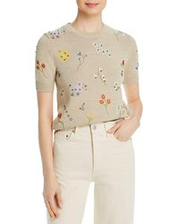 Tory Burch Floral Embroidered Jumper - Natural