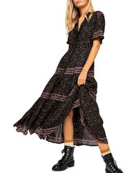 Free People Rare Feeling High-neck Floral-print Woven Midi Dress - Black