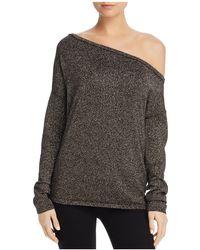 Minnie Rose | Metallic One-shoulder Sweater | Lyst