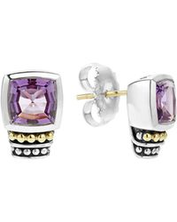 Lagos - 18k Gold And Sterling Silver Caviar Colour Stud Earrings With Amethyst - Lyst