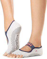 ToeSox Mia Ribbon Grip Toe Barre Socks - Natural