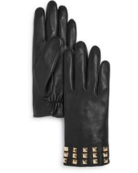 Aqua Studded Leather Tech Gloves - Black
