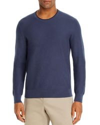 Bloomingdale's Tipped Textured Crewneck Sweater - Blue