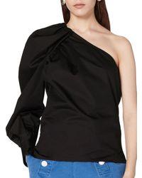 10 Crosby Derek Lam Elodie Cotton One Shoulder Blouse - Black