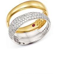 Roberto Coin - 18k White & Yellow Gold Scalare Pavé Diamond Double Ring - Lyst