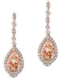 Bloomingdale's Morganite & Diamond Drop Earrings In 14k Rose Gold - Pink