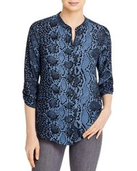 Bloomingdale's Snake Print Button Down Top - Blue