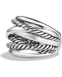 David Yurman Wide Cable Accented Ring - Metallic