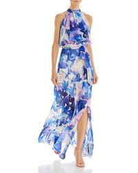 Eliza J Printed Popover Maxi Dress - Blue