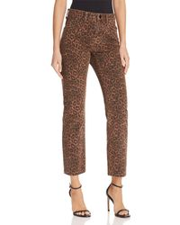 T By Alexander Wang - Cult Cropped Straight Jeans In Tan Leopard - Lyst