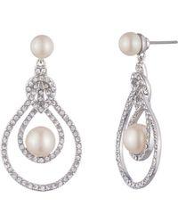 Carolee - Simulated Pearl & Pavé Drop Earrings - Lyst