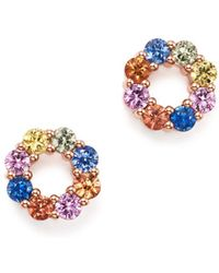 Bloomingdale's - Multicolored Sapphire Open Circle Stud Earrings In 14k Rose Gold - Lyst