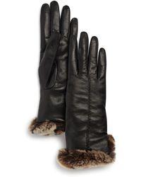 Bloomingdale's Rex Rabbit Fur - Trim Leather Gloves - Black