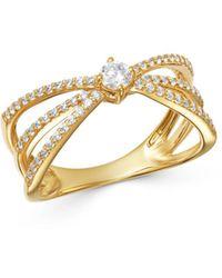Bloomingdale's Diamond Triple - Shank Ring In 14k Yellow Gold - Metallic