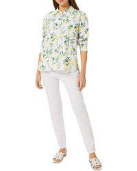 Hobbs Livia Lemon Print Linen Shirt - White