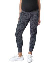 Ingrid & Isabel Maternity Leopard Print Jogger Trousers - Blue