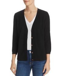 C By Bloomingdale's Star - Button Cashmere Cardigan - Black