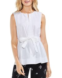 Vince Camuto - Poplin Sleeveless Belted Top - Lyst